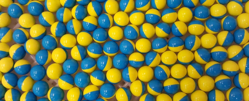 paintballs on a table