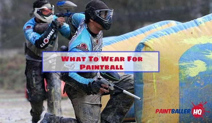 two players with safe paintball gear